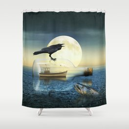 Bottle Ship in trouble Shower Curtain