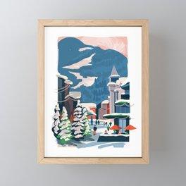Whistler village in the snow Framed Mini Art Print