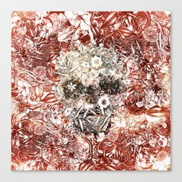 Floral Skull Red Canvas Print