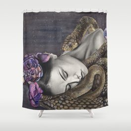 Watercolor Snake Art Shower Curtain