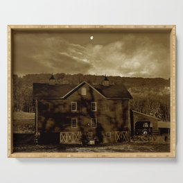 Moon Over Barn in Sepia Serving Tray