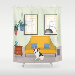 Hanging Plants And A French Bulldog In A Midcentury Interior Shower Curtain