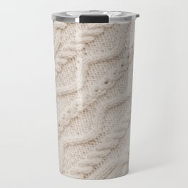 Beige Cableknit Sweater Travel Mug