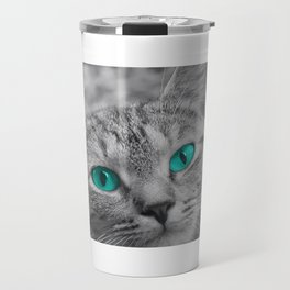 Cat with Piercing Turquoise Eyes Travel Mug