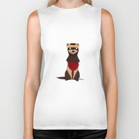 ferret Biker Tanks featuring Lovely Ferret by Olluga