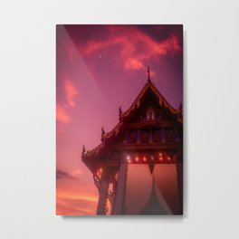 Traditional Buddhist temple at dusk. Beauty of Thailand. Metal Print