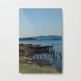 Broken Dock and Tanker Metal Print