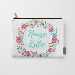 Nurse Katie - Floral Wreath - Watercolor Carry-All Pouch
