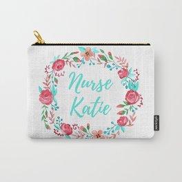 Nurse Katie - Floral Wreath - Watercolor Carry-All Pouch