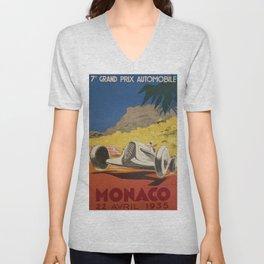 Vintage 1934 White Deco Monaco Grand Prix Car Advertisement Poster by Geo Ham Unisex V-Neck