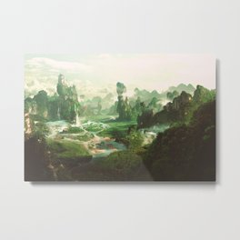 Fantasy panorama landscapes of Countryside ,Panoramic of peaceful landscape, mountains, wild grass and leaves falling from trees. Wonderland illustration Metal Print