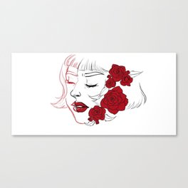 Roses painted red Canvas Print