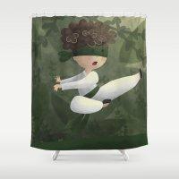 ninja Shower Curtains featuring Ninja by Miuska