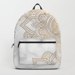 Marble Gold Mandala Design Backpack