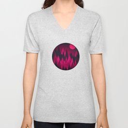 Dark Triangles (Peak Woods) Abstract Grunge Mountains Design (red/black) Unisex V-Neck