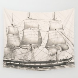 Vintage Illustration of a Frigate Sailboat (1849) Wall Tapestry