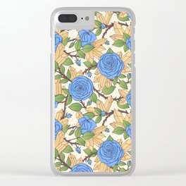 Blue Roses and Crystals Pattern Clear iPhone Case