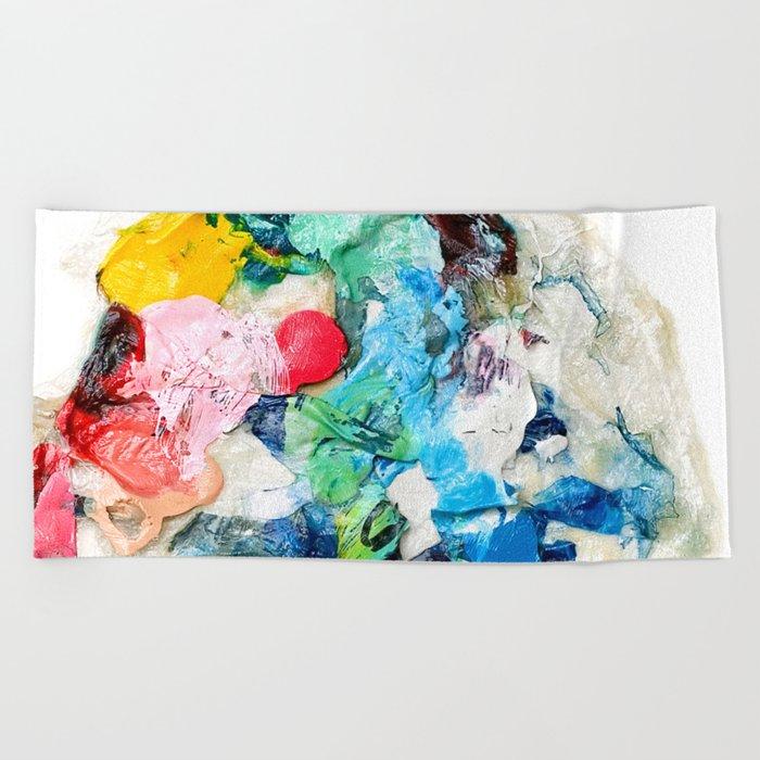 Rainbow Earth Paint Moon Love Beach Towel