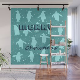 Merry Christmas from the penguins I Wall Mural