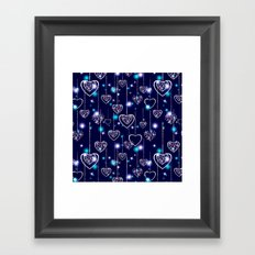 Openwork hearts on bright blue background. Framed Art Print