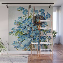 Dachshund and Forget-Me-Nots Wall Mural