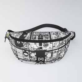 Beijing city map black and white Fanny Pack
