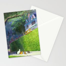 Cat Pilot on a Green Hedge Stationery Cards