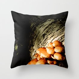 The mushrooms and the white birch Throw Pillow