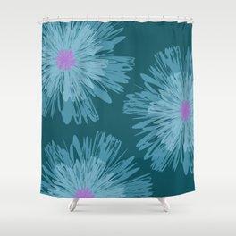 Big Blue Flowers Spring Summer Modern Floral Design Shower Curtain