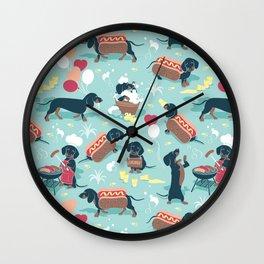 Hot dogs and lemonade // aqua background navy dachshunds Wall Clock