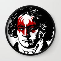 beethoven Wall Clocks featuring Beethoven Rock by futbolko