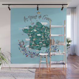 Map of french vineyards Wall Mural