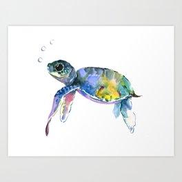 Sea Turtle, children artwork Illustration Art Print