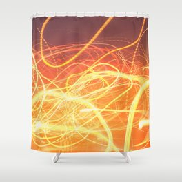Late Night Venture Through a Bustling City of Lights Shower Curtain
