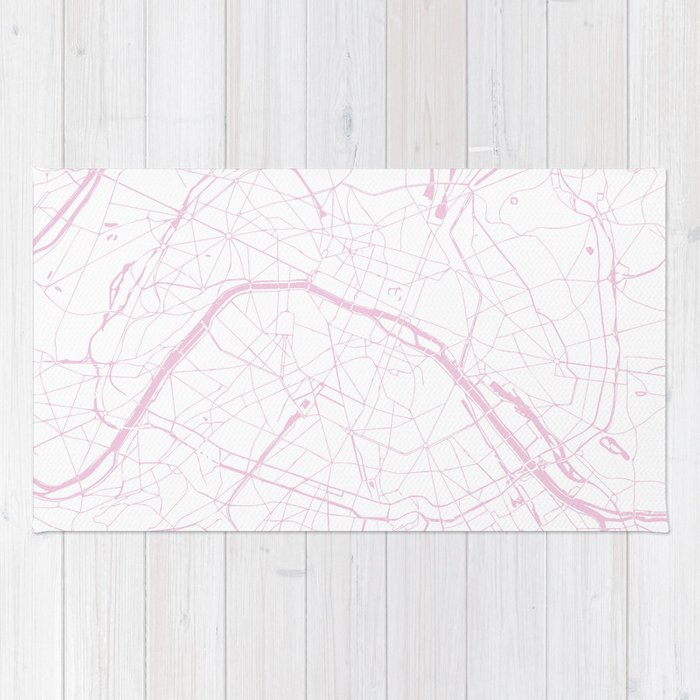 Paris France Minimal Street Map - Pretty Pink and White Rug by ...