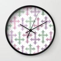 pastel goth Wall Clocks featuring Pastel Goth | Grunge by Glitterati Grunge
