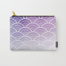 Purple Ombre Japanese Waves Pattern Carry-All Pouch