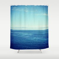 channel Shower Curtains featuring Channel Islands In Mist by Emily Werboff