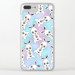 Cute Bunny with Coffee Frappe on Pink Blue Haze Clear iPhone Case