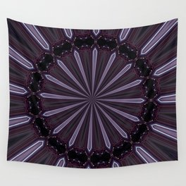 Eggplant and Pale Aubergine Abstract Floral Pattern Wall Tapestry