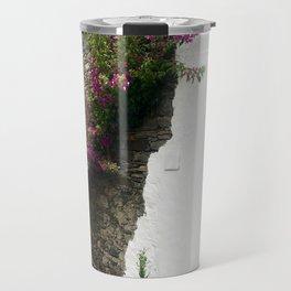 White Stone Flowery Wall Travel Mug