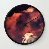 swan Wall Clocks featuring Swan by MikakoskArts