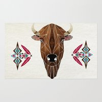 bison Area & Throw Rugs featuring bison by Manoou