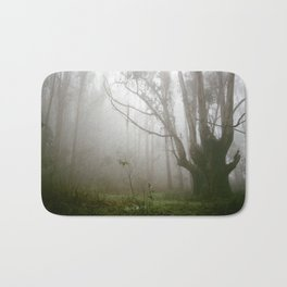 Spooky Tree in the Misty Foggy Forest - 35mm film Bath Mat