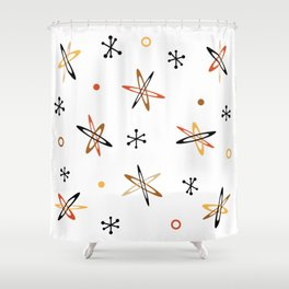Atomic Era Space Age Orange Brown White Shower Curtain