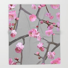 Plum blossom pattern grey Throw Blanket