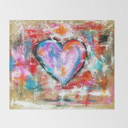 Reckless Heart, Abstract Painting Throw Blanket