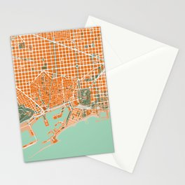 Barcelona city map orange Stationery Cards