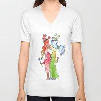 lesbian V-neck T-shirts featuring lesbian flower women kiss by Nehalennia