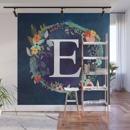 Personalized Monogram Initial Letter E Floral Wreath Artwork Wall Mural
